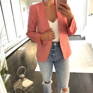 Loft Vintage Red linen blend blazer size 0 fitted